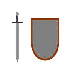 Set of sign shield and sword silver 2707 vector image vector image