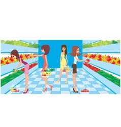 women in a supermarket vector image vector image