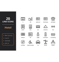 20 hotel line icons vector image