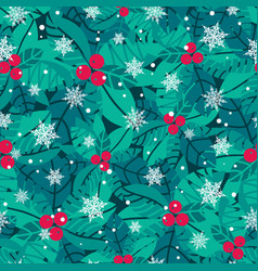 blue red white holly berries and vector image