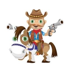 Cowboy rider with guns on a horse vector image vector image