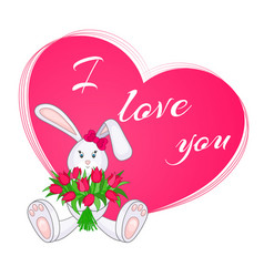 cute little bunny with bouquet of tulips vector image