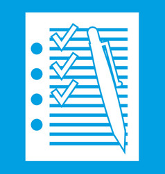 document with plan and pen icon white vector image vector image