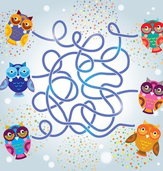 Funny owls labyrinth game for preschool children vector