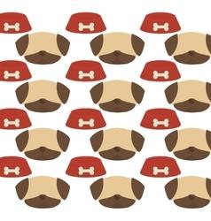 seamless pattern face dog bowl food vector image