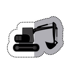 sticker monochrome backhoe with crane for vector image