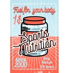 Vintage sports nutrition poster vector image