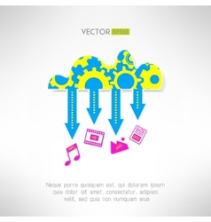 Cloud service icon with multimedia Network vector image