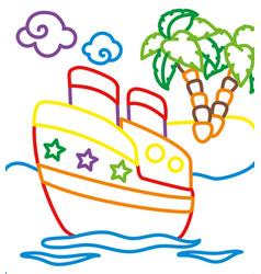 coloring book of ship near island vector image