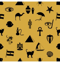egypt country theme symbols icons seamless pattern vector image vector image