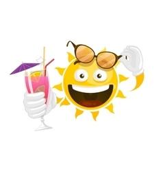summer cartoon smiley sun vector image vector image