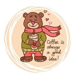 teddy bear with coffee vector image vector image