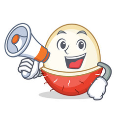 with megaphone rambutan character cartoon style vector image vector image