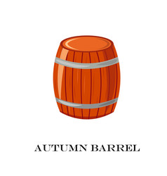 wooden barrel autumn time vector image