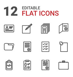 12 document icons vector image