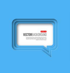 3d paper speech bubble blue color vector image