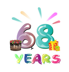 68 years anniversary celebration greeting card vector image vector image