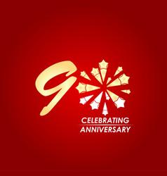 90 year celebrating anniversary template design vector