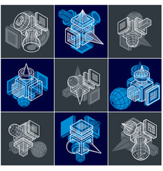 Abstract set isometric dimensional shapes vector