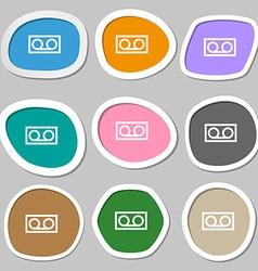 audio cassette icon symbols Multicolored paper vector image