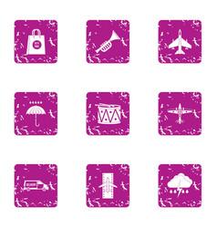 aviatransportation icons set grunge style vector image