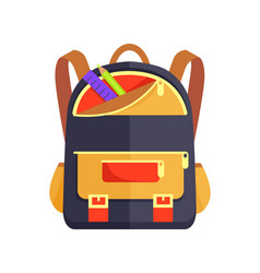 Backpack for kid with school stationery accessory vector