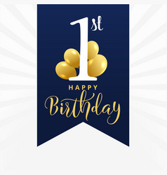 Beautiful first birthday card design vector