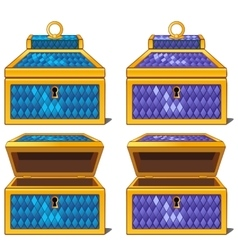 Blue and purple magic chests open and close vector