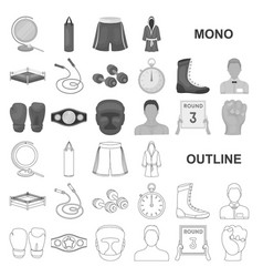 Boxing extreme sports monochrom icons in set vector