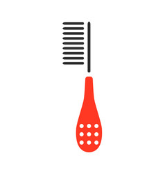 brush for grooming pets flat color icon vector image