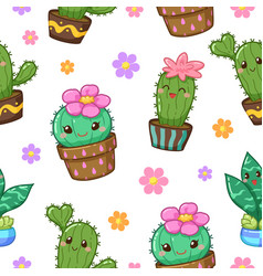 cactus cartoon seamless pattern vector image