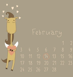 Calendar for february 2014 vector image