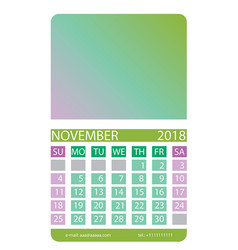 Calendar grid november vector