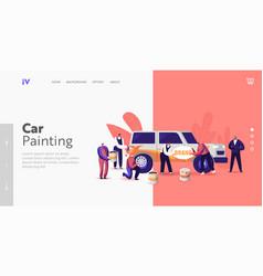 characters painting car making airbrushing vector image