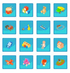Childrens toys icon blue app vector
