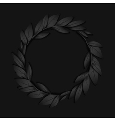 Circular frame of black paper branches and leaves vector image