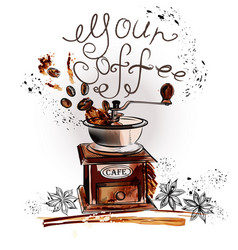 Coffee background with watercolor coffee grunder vector