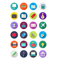 Color round business icons set vector image