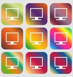 Computer widescreen monitor icon nine buttons vector