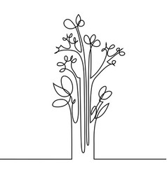 Continuous line drawing flowers vector
