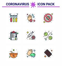 Coronavirus prevention set icons 9 filled line vector