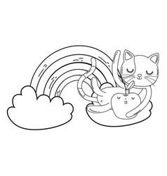 Cute cat with apple fresh and rainbow vector