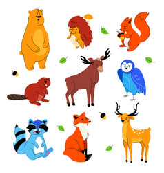 cute forest animals - flat design style set vector image