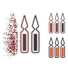 Decomposed pixel halftone ampoules icon vector