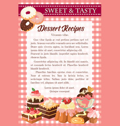Dessert recipe poster template with cake donut vector