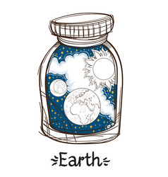 earth in a glass jar the planet of the solar vector image