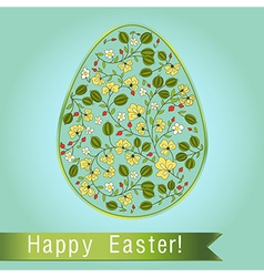 Easter egg with gooseberry blue turquoise greeting vector