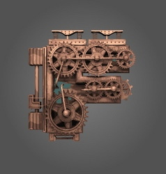 f rusted letter with gears vector image