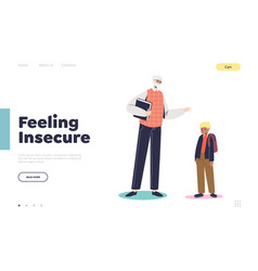 Feeling insecure in school concept landing page vector