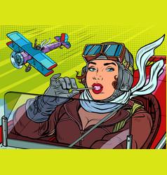 female retro pilot professional military pilot vector image